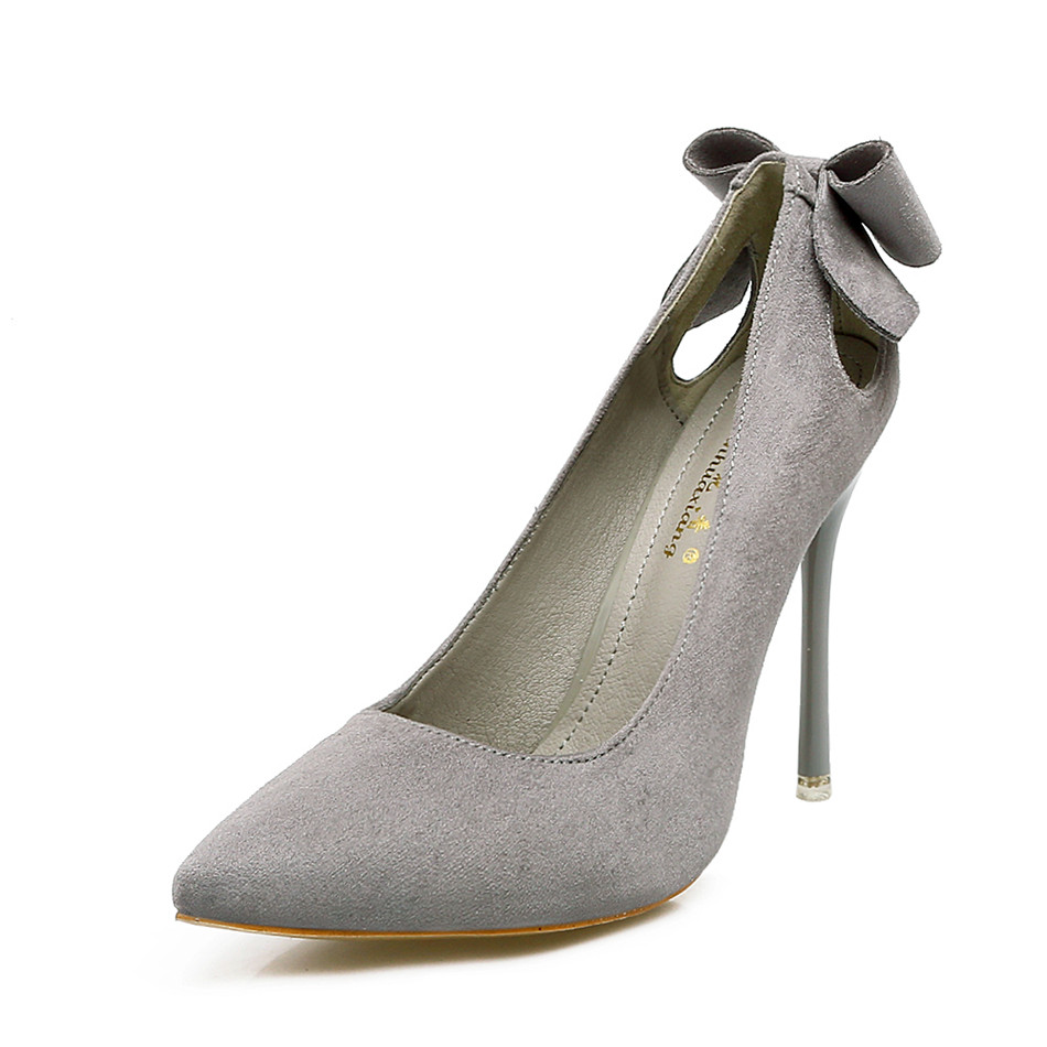Fashion 2018 high heel shoes women black Pumps tacones mujer sexy Hollow Pointed Toes Spring Sweet Bowknot Nude Shoes Heels lakeshi new fashion pumps thin sexy high heeled shoes woman pointed suede hollow out bowknot sweet elegant women shoes