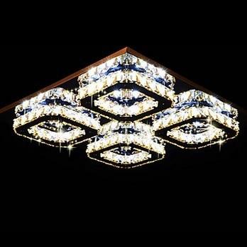 4 Lights Flush Mount Modern K9 Crystal LED Ceiling Lamp For Bedroom ...
