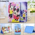 Free shipping Cute Cartoon Mickey Mouse Donald Duck Minnie pu leather stand case cover for Samsung Galaxy Tab 3 8.0 T310 T311