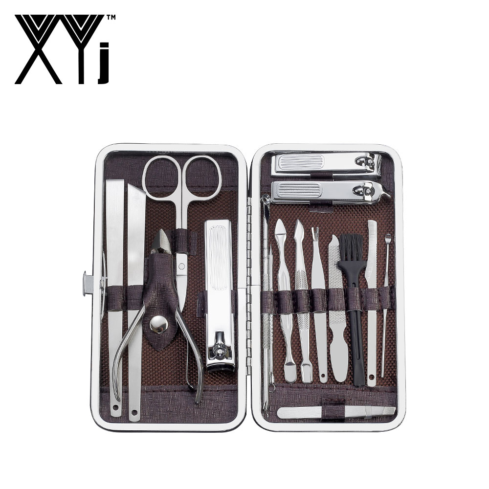 XYj Manicure Pedicure Set Nail Clippers 17 Pieces Stainless Steel Nail Kit Professional Grooming Kit with Leather Travel Case in Sets Kits from Beauty Health