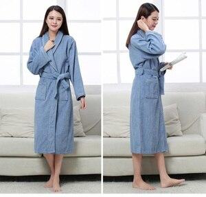 Image 4 - Халат хлопковый махровый для мужчин и женщин, всесезонный банный халат для пар, мягкая дышащая впитывающая одежда для сна, ночная рубашка