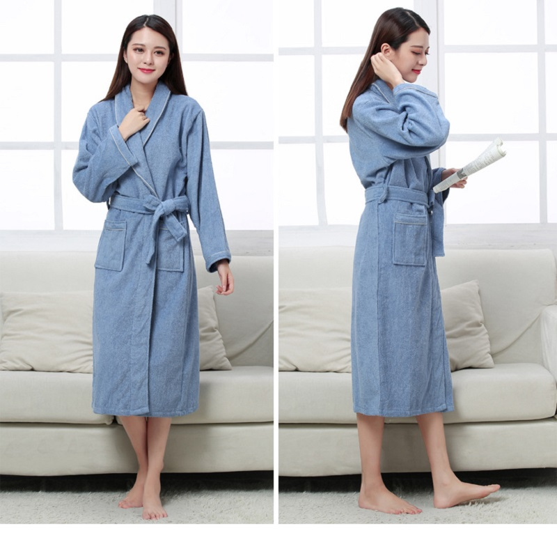 Image 4 - Women Men Cotton Terry BathRobes all seasons couple Robe hotel bathrobe soft breathable absorbent sleepwear Night gown hombre-in Robes from Underwear & Sleepwears