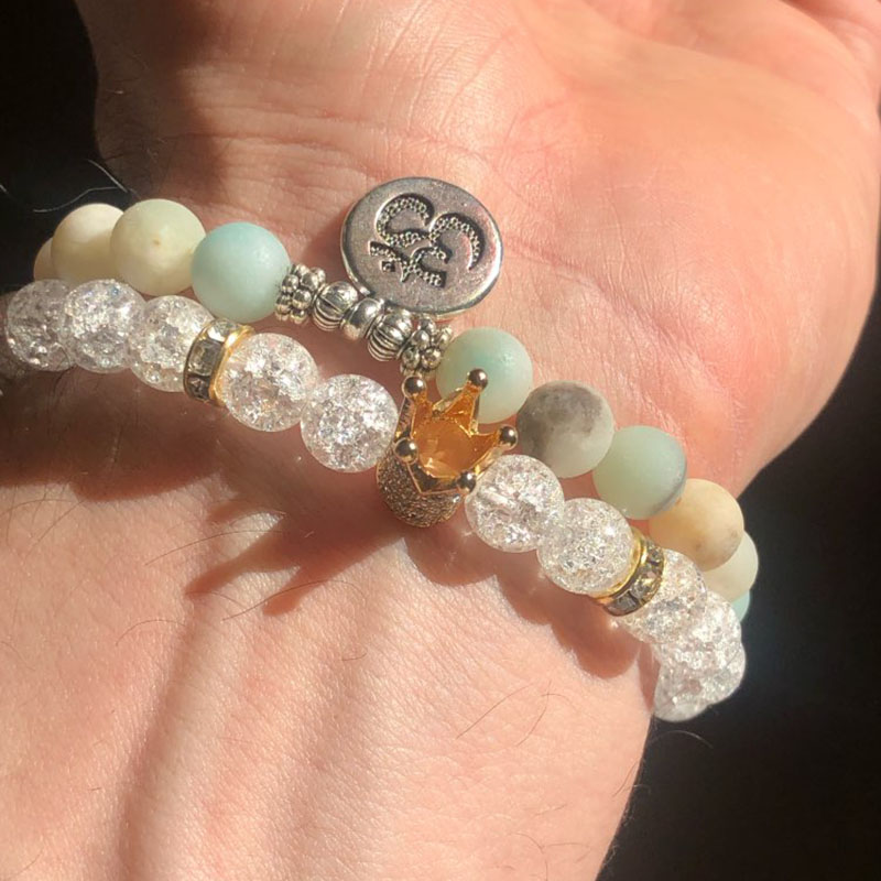 New Fashion Imperial Micro Pave Cubic Zircon Crown Charm Bracelet Men Women's White Crack Flowers Stone Beads Bracelet Jewelry