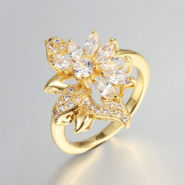 Fashion New Women Rings High Quality Real 18K Yellow Gold Platinum
