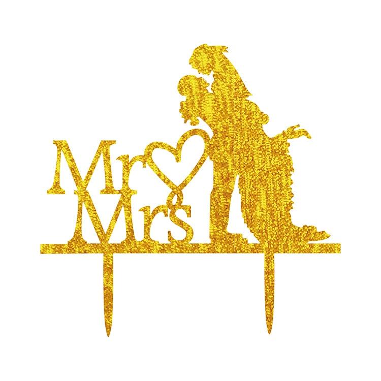Acrílico Amor Corazón Pastel de bodas Bandera Topper Mr & Mrs Novia - Para fiestas y celebraciones - foto 5