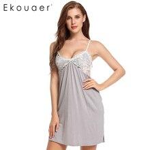 Ekouaer лоскутное кружева ночной рубашке женщин сексуальный спагетти ремень платье женское белье пижамы dell v шеи рубашки плюс размер
