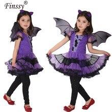 Bat Traje para a Menina Crianças Cosplay Vestido da Dança Fantasias para Crianças little witch capa manto Children'Day do Dia Das Bruxas