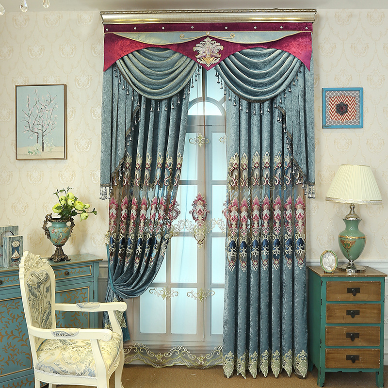 Blue Brown Europe Luxury Villa Valance Curtains For Living Room