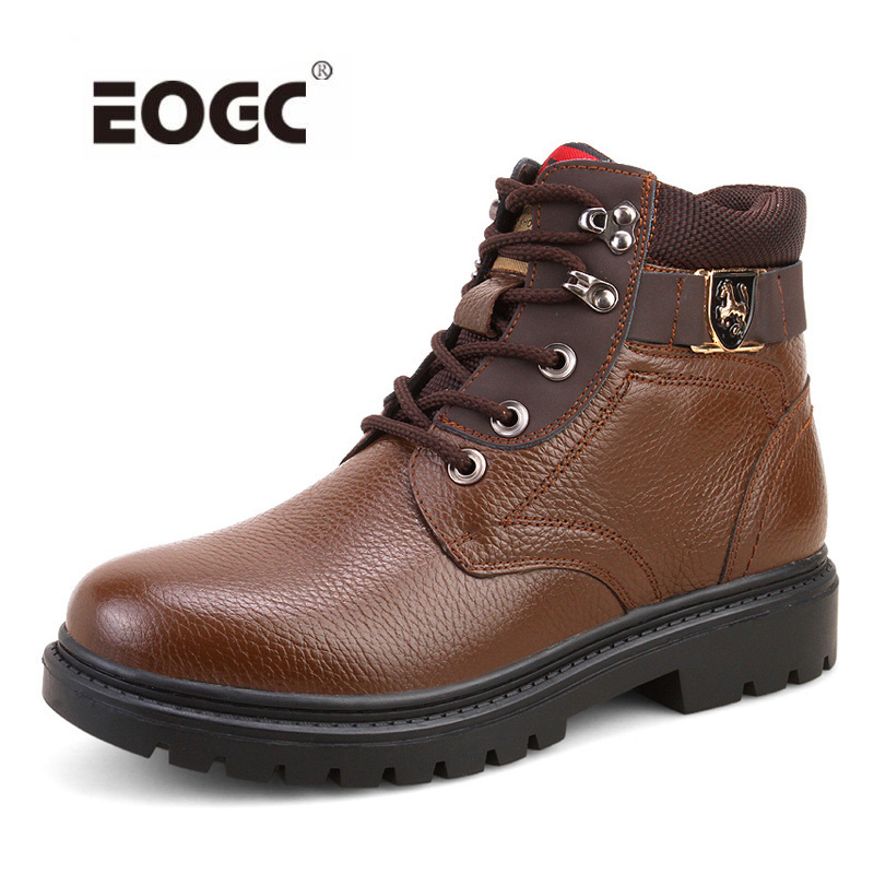 New Fashion Genuine Leather Men Boots Warm Winter Shoes Lace Up Waterproof Men Snow Boots Shoes fashion men s lace up straight legs cropped jeans