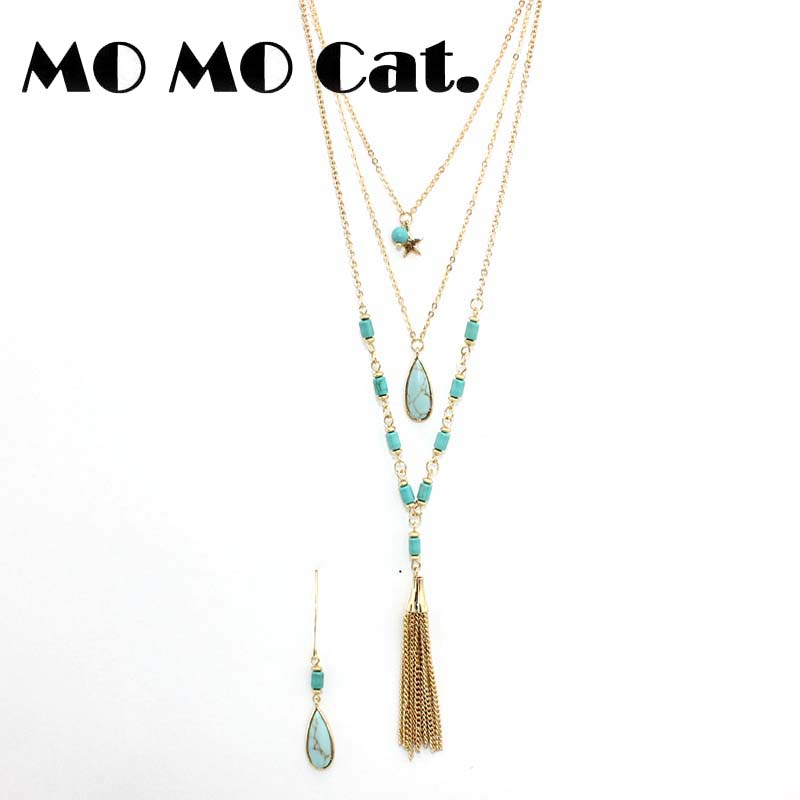 Free shipping Fashion jewelry Wholesale gift Three layers of green pine stone white necklace earrings suit