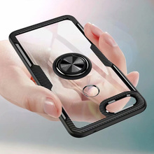 For Xiaomi Mi 8 Lite Case With Ring Stand Magnet Transparent shockproof Protective Back Cover case for xiaomi mi8 lite shell