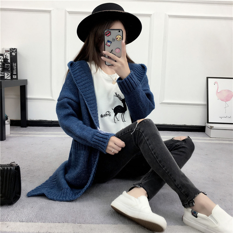 HTB1CmxoSVXXXXbSaXXXq6xXFXXX9 - Women Long Knitted Sweater Coat Hooded Sweater Cardigans JKP039