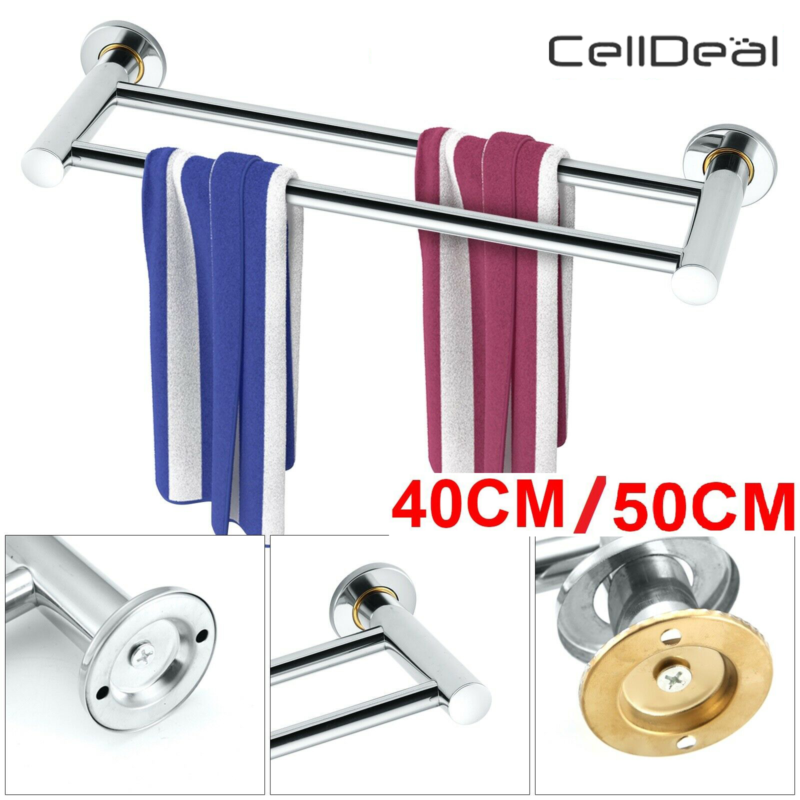 Multifunctional Anti-rust 2 Layer Wall-Mounted Stainless Steel Towel Rack Bathroom Kitchen Wall Organizer Towel Rail Holder