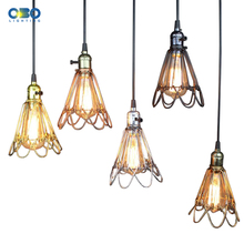 цена на Vintage Pendant Lights Iron Painted Gold/Silver/Black Lampshade With Switch Indoor Lighting Bar Pendant lamp E27 Lamp Holder