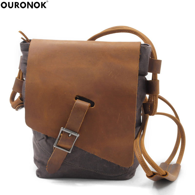 OURONOK 2018 Oil Wax Canvas Women Men Shoulder Waterproof Bag Retro Leather Messenger Small Casual Men's Crossbody Unisex bag the imported oil wax pattern leather singel shoulder satchel small men s messager bag retro 7 inch for outdoor tourism