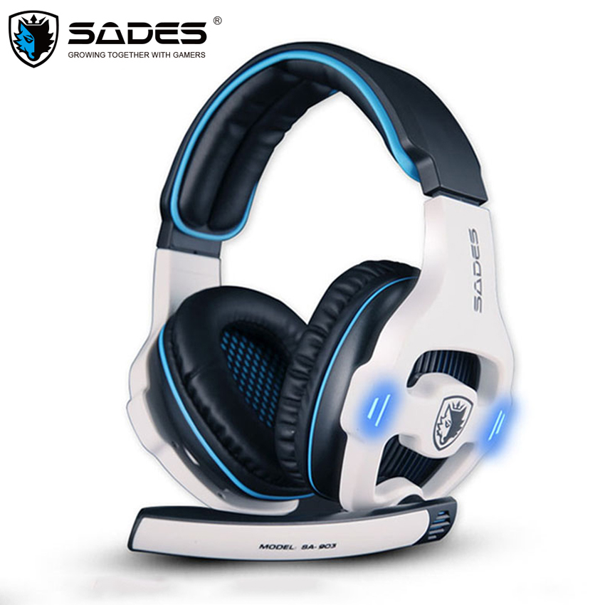 SADES SA-903 Gaming Headset Gamer USB 7.1 Channel gaming Headphones PC Game Earphones with Mic LED for Computer fones de ouvido sades a60 gaming headphones 7 1 usb stereo surround sound fone de ouvido game headset led earphones with mic for pc casque gamer