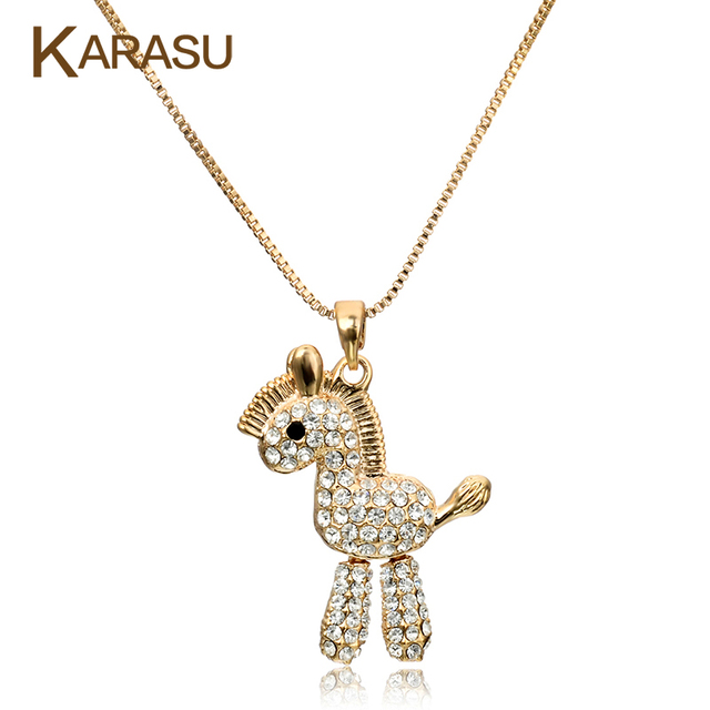 New Arrival Shiny Austrian Crystal Wood Horse Design Real Gold Plated Pendant Chain Necklace Jewelry for Women Christma Gifts