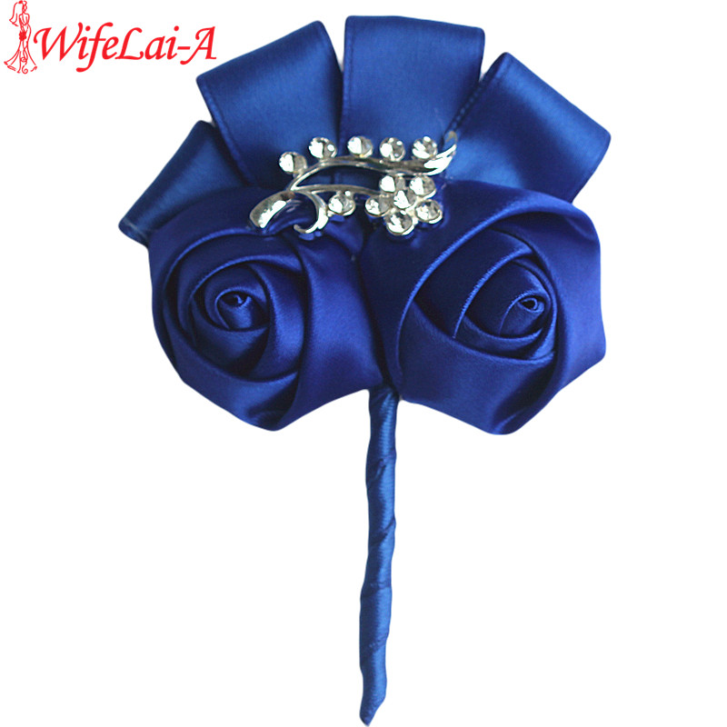 Wedding Flowers Men: Customized Royal Blue Wedding Corsages Boutonniere Groom