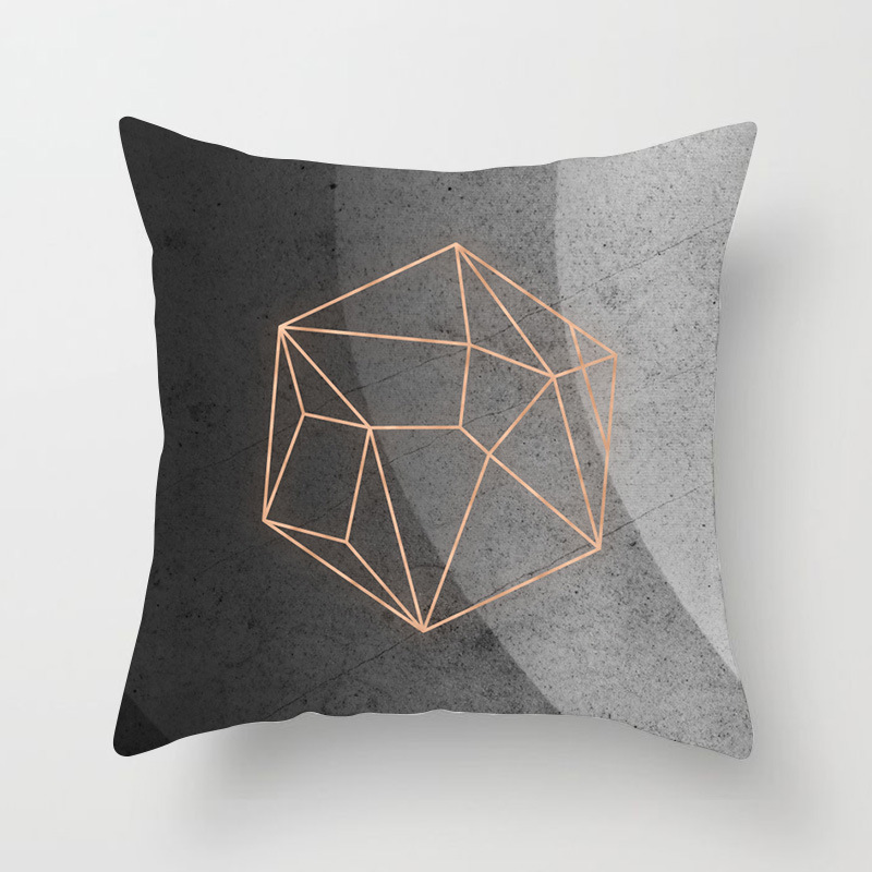 Image 5 - Nordic Simple Pink Marble Geometric Cushion Cover Peach Velvet Decorative Throw Pillowcase Home Decor Living Room Decoration-in Cushion Cover from Home & Garden