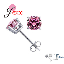 JEXXI Wholesale High Quality Jewelry 925 Sterling Silver Women Accessories Cubic Zirconia CZ 4 Claws Stud Earrings 8 Colors