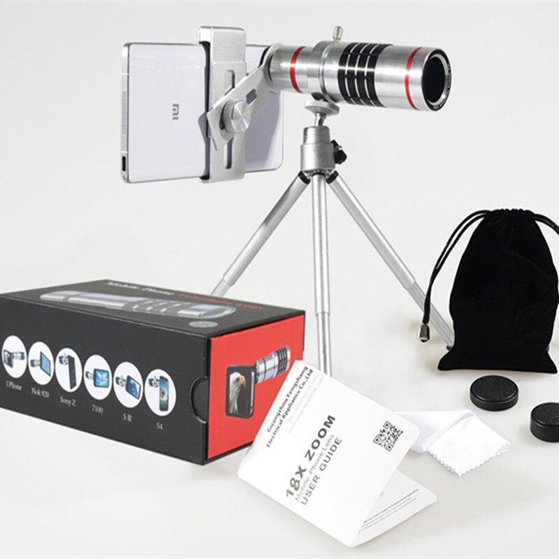 18x telescopio óptico Zoom Smartphone objetivo lente de la Cámara + trípode portátil para Samsung para teléfonos móviles Iphone