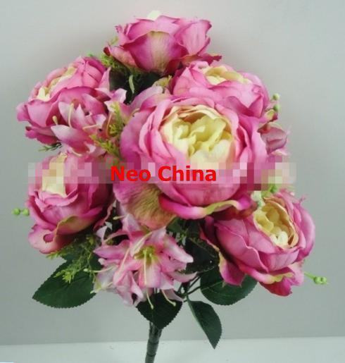 wholesale wedding bouquets 12 head roses and lily bouquets high 45cm artificial silk flowers. Black Bedroom Furniture Sets. Home Design Ideas