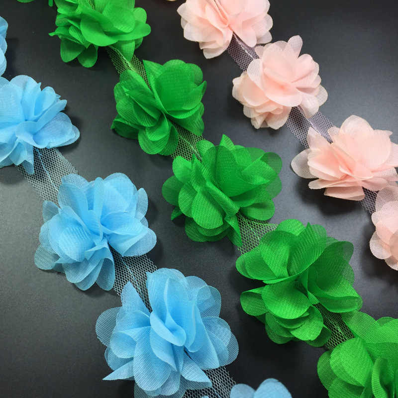2b5ae6b7310cd 2yards=24pcs flowers 3D Chiffon Cluster Flowers Lace Dress Decoration Lace  Fabric Applique Trimming Sewing Supplies
