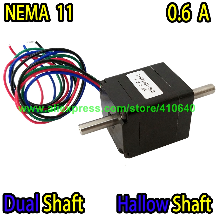DUAL SHAFT AND HOLLOW SHAFT Nema11 Stepper Motor 11HY3401-HLS 0.6 A 5.5 N.cm Torque Apply for Mounter or Dispenser or Printer