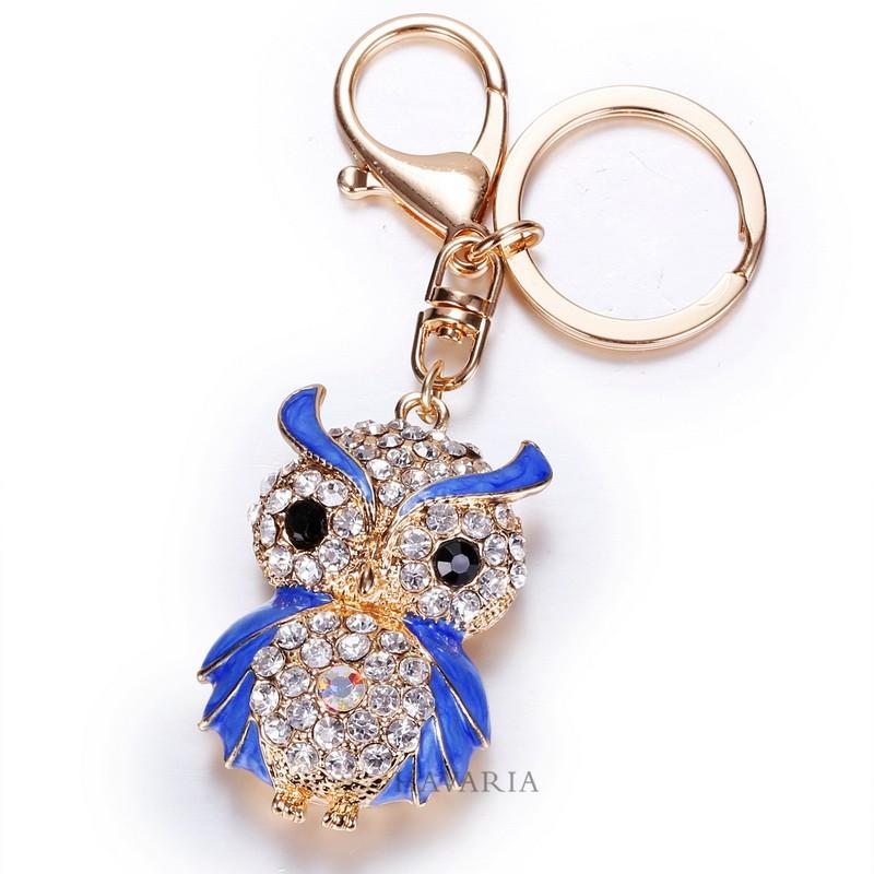 Owl Gold Crystal Keychains