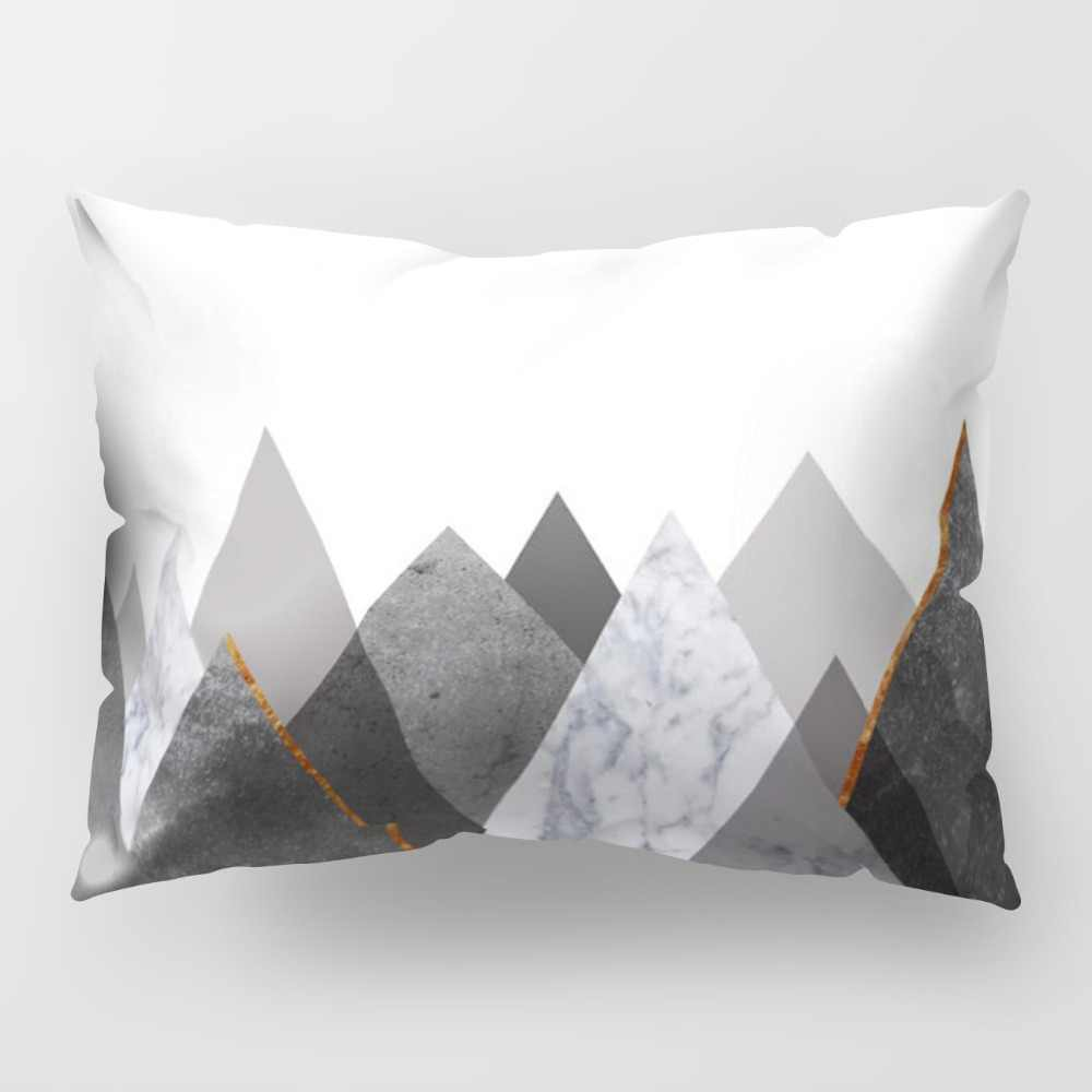 Funda de almohada larga de 50x30 CM, funda de sofá de Horror, estampado de sarga, patrón de mármol, cojín geométrico, funda de almohada de algodón PP57