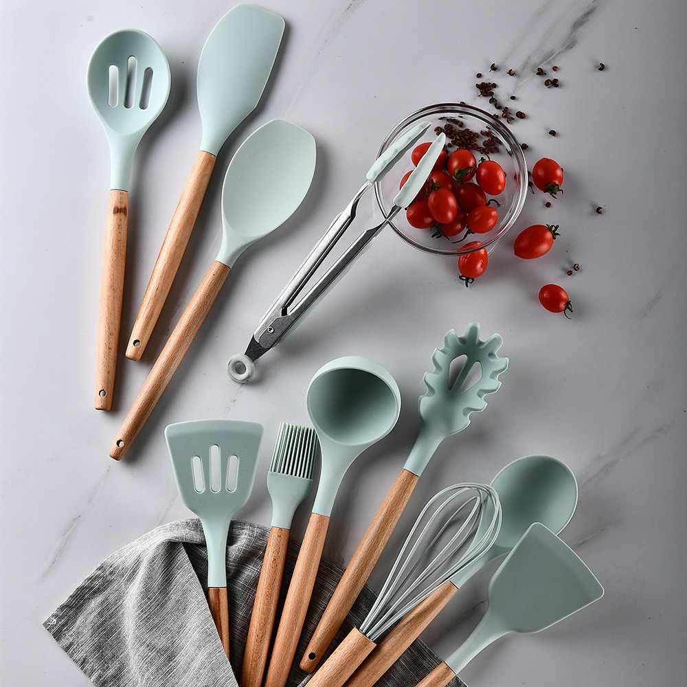 9/11/12pcs Cooking Tools Set Silicone Spoon Spatula Turner Egg Beaters Set Kitchen Non-stick Cooking Utensils With Storage Box