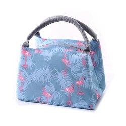 Животные Фламинго сумки для ланча для женщин Портативный функциональный холст в полоску Термоизолированный еда пикника детская Термосумк...