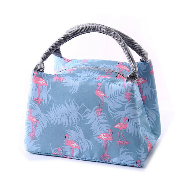 Animal Flamingo Lunch font b Bags b font Women Portable Functional Canvas Stripe Insulated Thermal Food