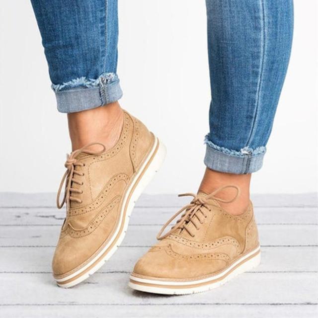 new product ece33 935d5 Plus Größe 35 43 Frauen Flache Hohl Plattform Schuhe Oxfords Britischen  Stil Damen Creepers Brogue Schuh Für Weibliche Spitze up