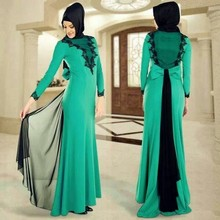 African Long Sleeve Green and Black Muslim Prom Dresses High Collar Long Sleeve Chiffon Hijab Evening Dresses Robe De Soiree
