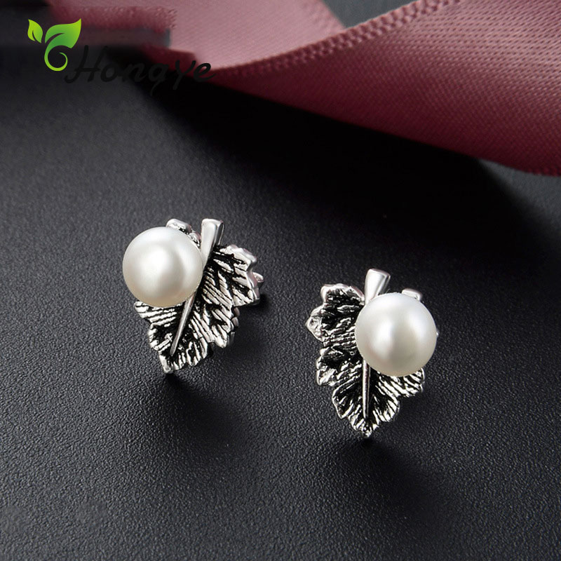 Hongye Women Earrings Fashion Jewelry Real Silver 925 Small Studs Ear Accessories Freshwater Pearl Opal Earrings Gifts Female in Earrings from Jewelry Accessories