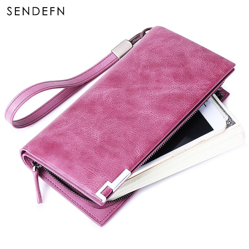 где купить Sendefn Large Capacity Genuine Leather Women Wallets Long Lady Purse Female Card Holder Phone Coin Pocket Fashion Wallet Women по лучшей цене