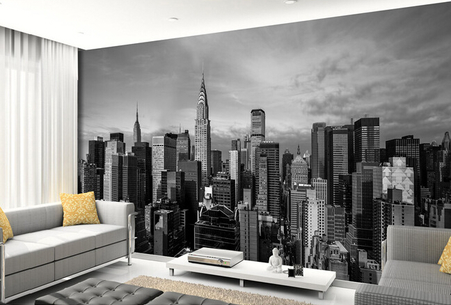 Buy custom photo wallpaper new york for Black and white new york mural wallpaper
