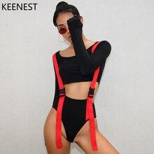 KEENEST Sexy Black Halter Cut Out Bandage Trikini Swim Bathing Suit Women Beach Sports Body Suit