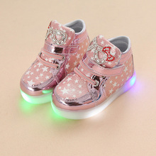 Wholesale Spring And Autumn Light Cartoon Cat LED Girl Flash Fashion Leisure Children s Shoes Unisex