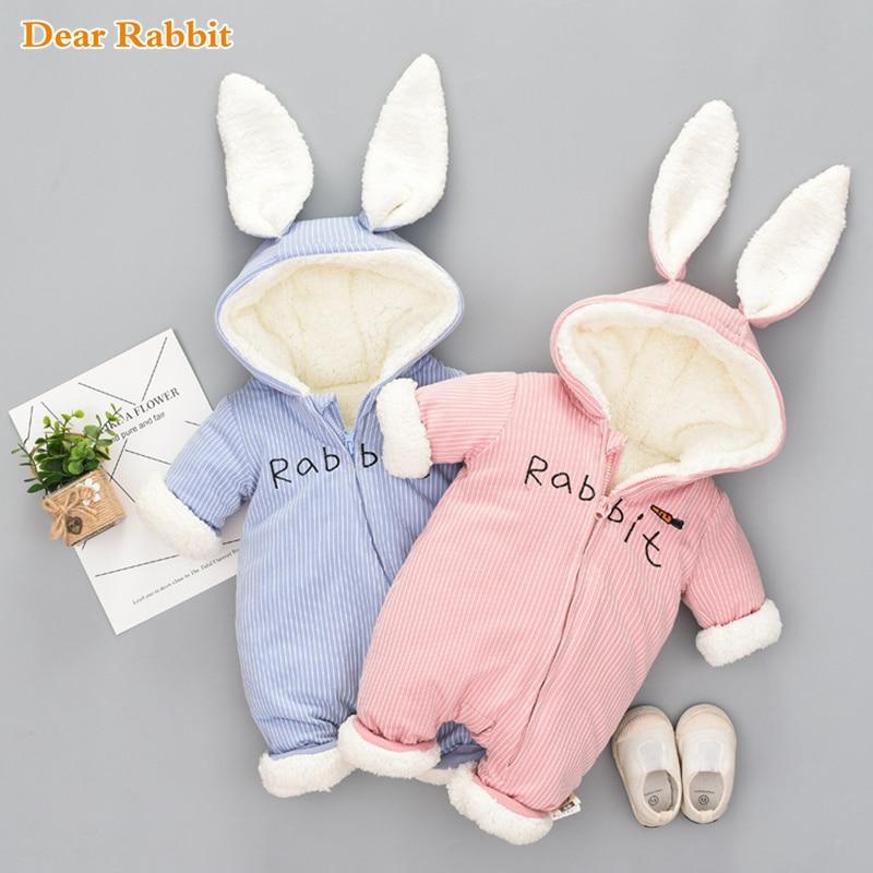 Russian cute bunny Fleece Velvet Infant Clothing Winter Baby Girls Boys Rompers Warm New Born Baby