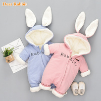 Russian cute bunny Fleece Velvet Infant Clothing Winter Baby Girls Boys Rompers Warm New Born Baby newborn Clothes Snow Jumpsuit