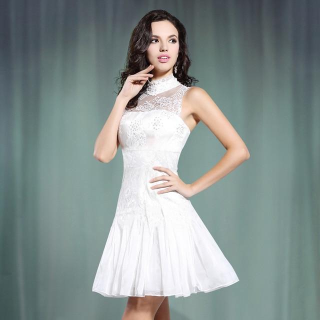 Aliexpress.com : Buy High Neck Short Beach Wedding Dress With Lace ...