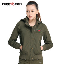 f0130b6f425 FreeArmy Brand Hooded Jacket Women s Short Jackets Thick Mandarin Collar  England Style Lady Jacket Solid Army Green Bomber Fall