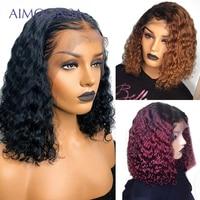 Curly Bob Wig Short Human Hair Bob Wigs For Women 1b/30 Honey Blonde 13x6 1b/99J Burgundy Lace Front Human Hair Wigs Remy