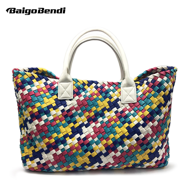 Celebrity Ladies Fade Color Woven Leather Handbag Gradient Large Handle Bag Cross Stitch Knitting Woman Casual Tote forudesigns candy color small handle bag woman casual handbag for girls luxury woman s leather handbags ladies cross body bolsas