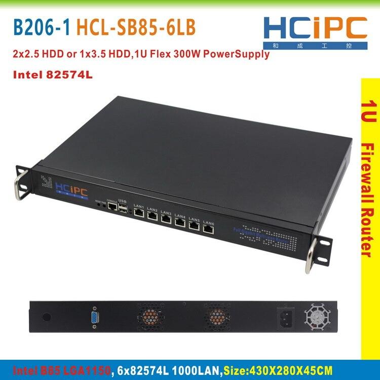 HCiPC B206-1 HCL-SB85-6LB,16G+64G+I3 CPU,LGA1150 B85 82574L 6LAN 1U Firewall SYSTEM,6LAN Motherboard,1U 6LAN Network Router(China)