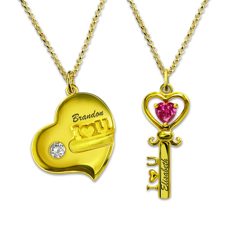 8eedca7624 AILIN Personalized Engraved Birthstone Key to My Heart Necklace Gold Color  Name Necklace for Couples-in Pendant Necklaces from Jewelry & Accessories  on ...