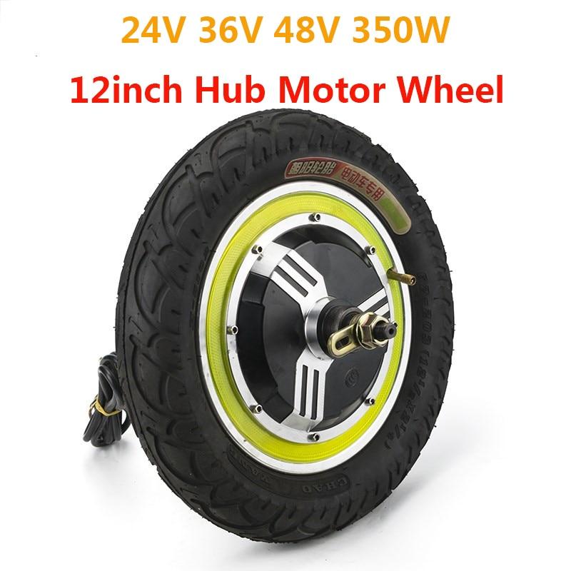 350 W 24 V 36 V 48 V moteur de moyeu sans brosse sans engrenage 12 pouces roue avant arrière pour vélo électrique Ebike Scooter e-car Kit partie énergétique