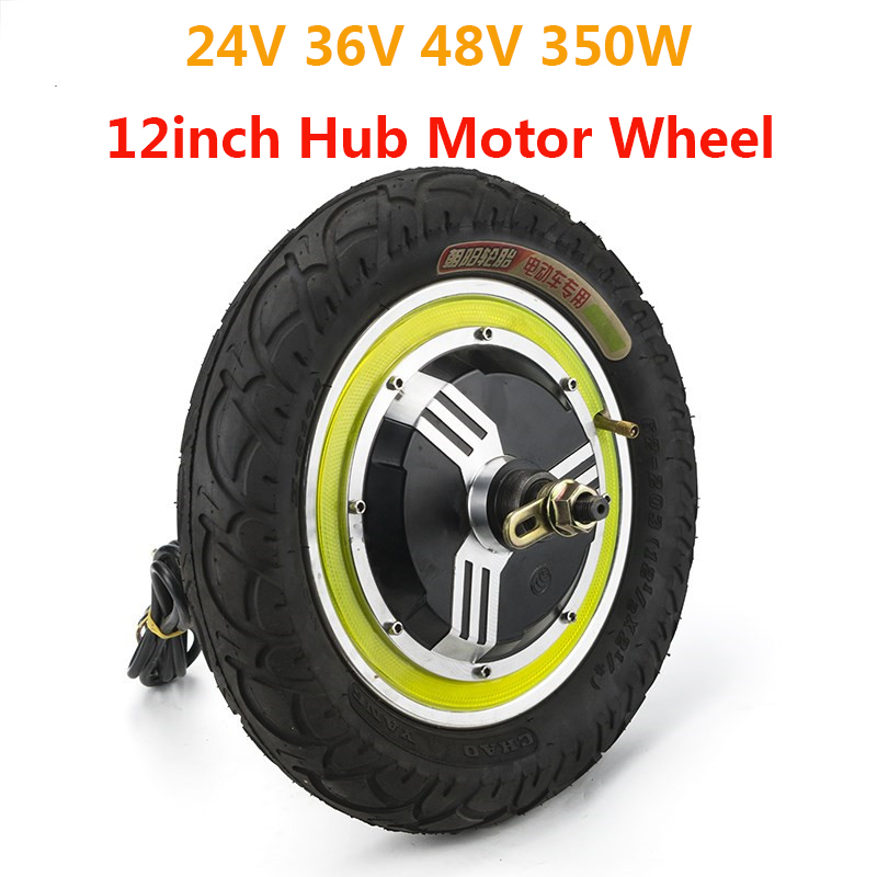 350 w 24 v 36 v 48 v Brushless Non-Gear Motore del Mozzo 12 pollici Posteriore Ruota Anteriore Per bicicletta elettrica Ebike Scooter E-Kit per auto di Energia Parte